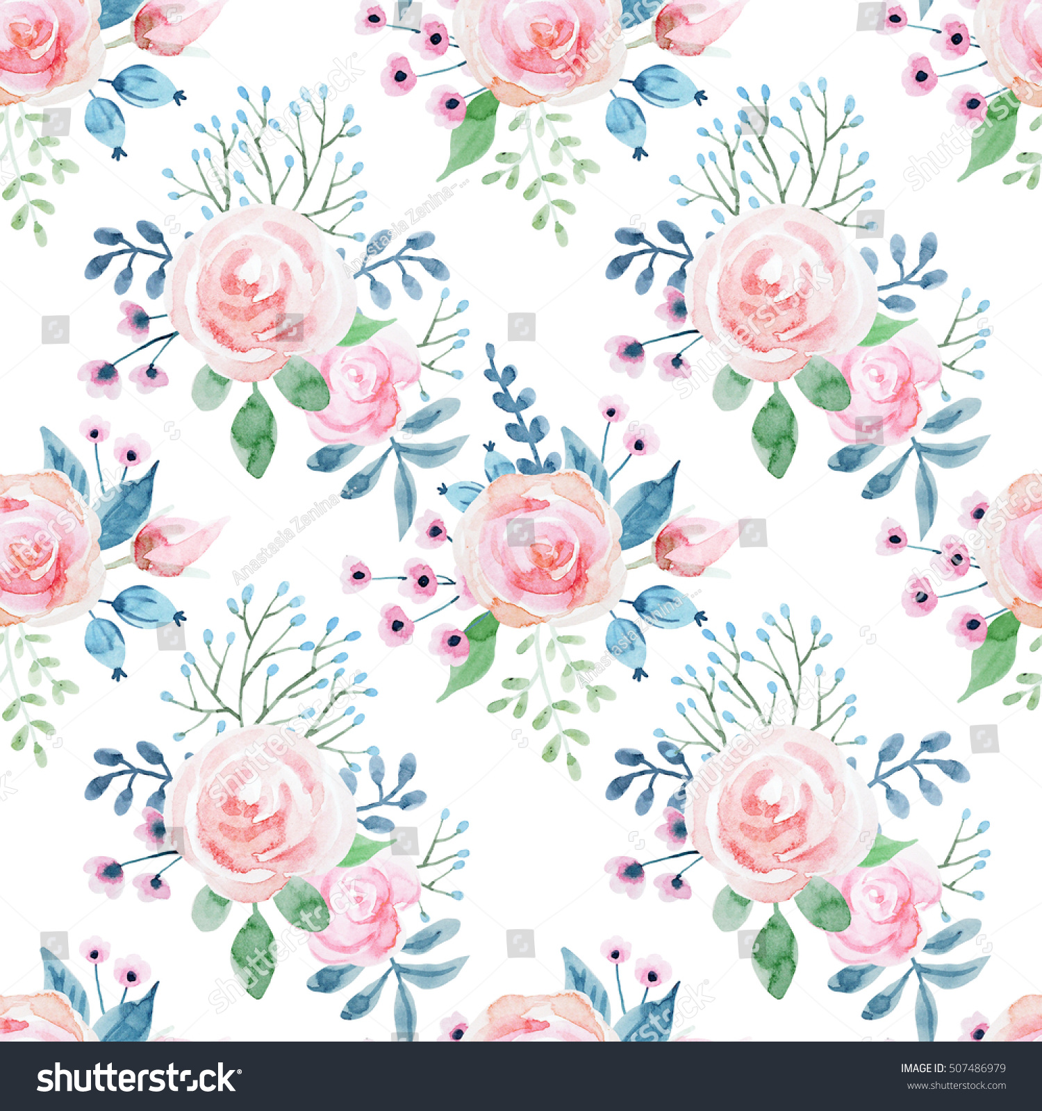 Watercolor Floral Pattern Roses Cute Floral Stock Illustration