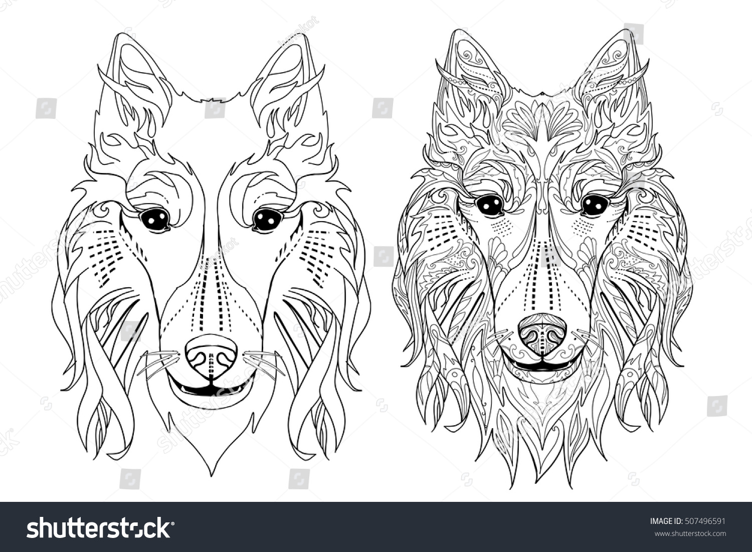 Ethnic Decorative Doodle Dog Coloring Book Page With Collie Face For Adults Vector