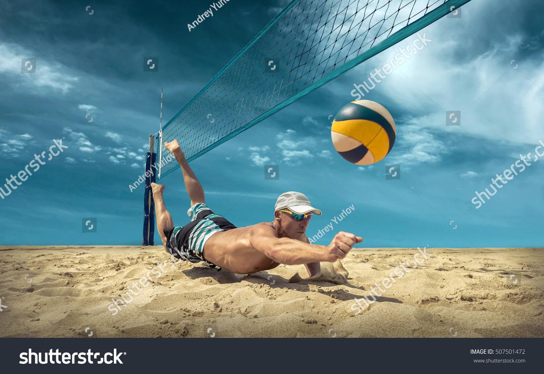 Beach Volleyball Player Action Sunny Day Foto de stock (libre de ...