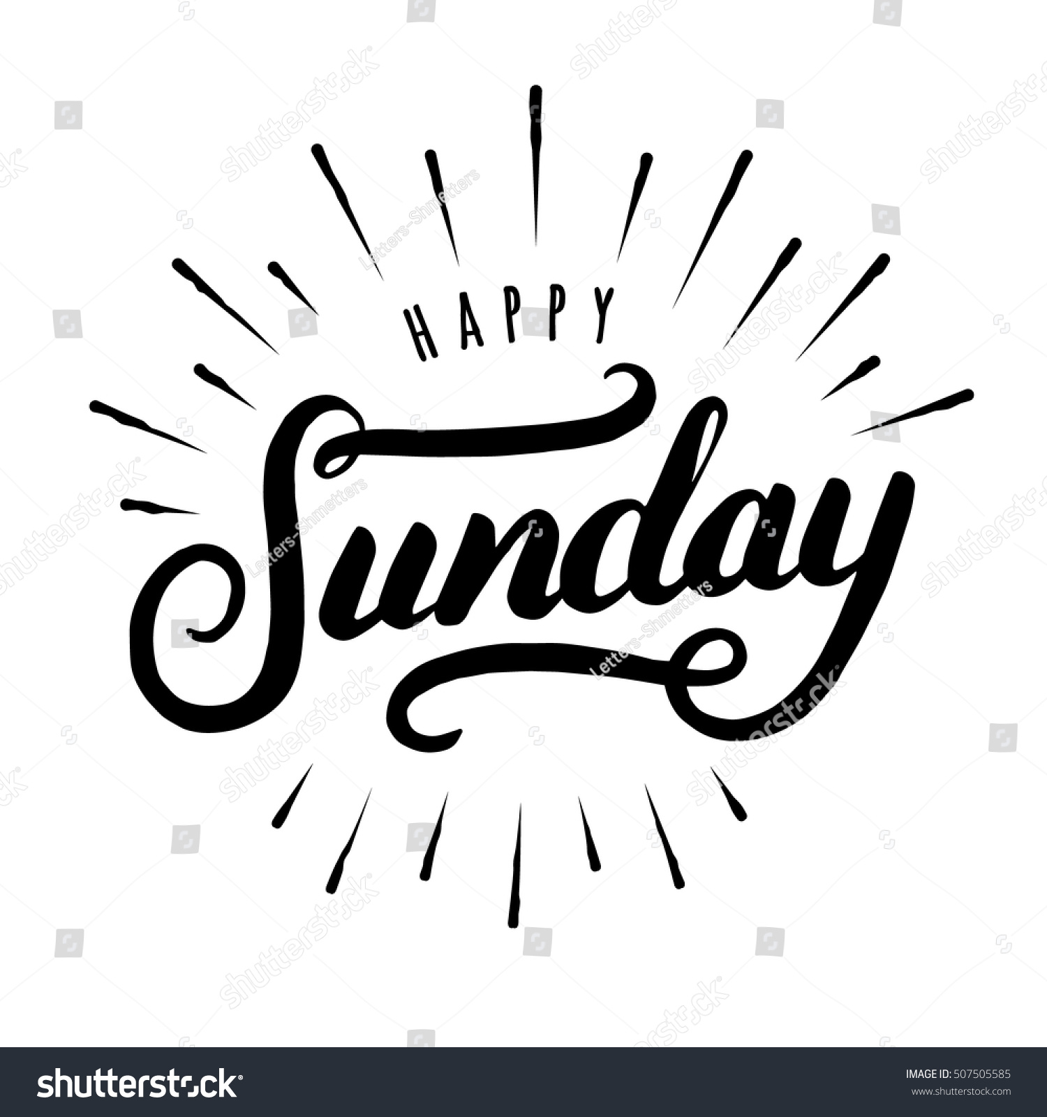 Happy sunday hand drawn lettering modern stock vector