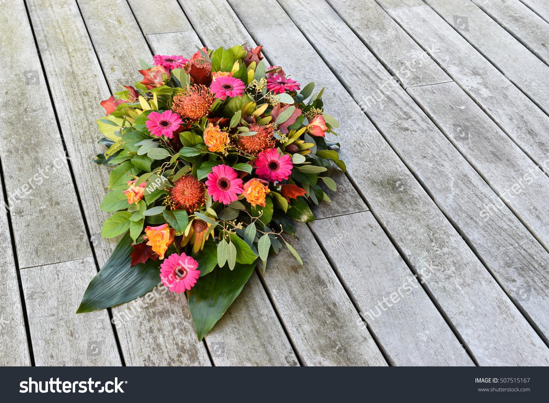 Funeral Theme Teardrop Flower Arrangement Stock Photo Edit Now
