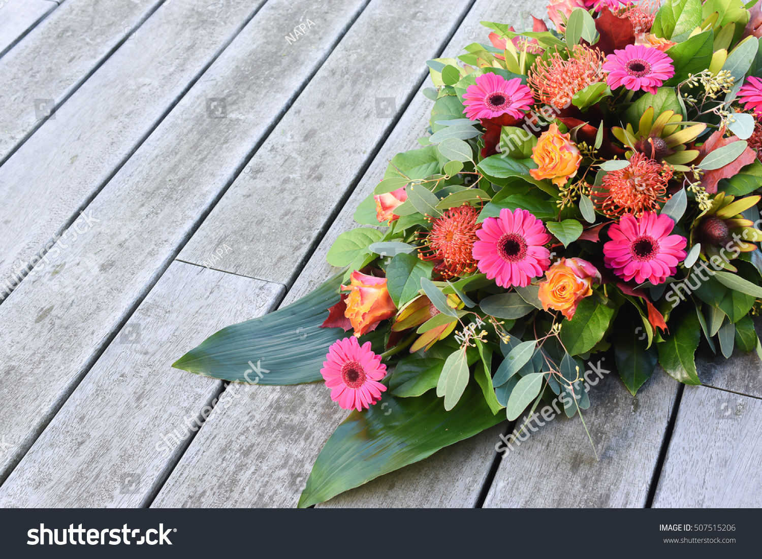 Funeral Flowers Condolences Copy Space Stock Photo Royalty Free