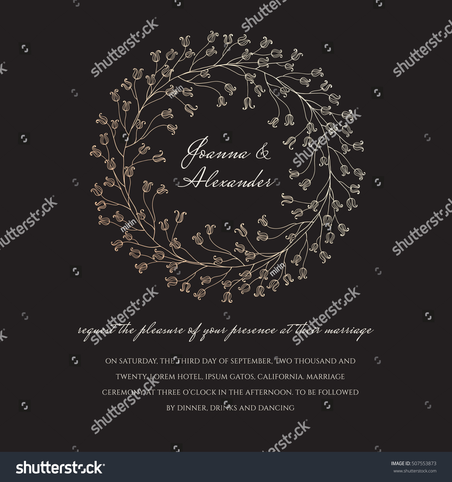 Wedding Invite Sample Floral Sparkling Wreath Stock Vector 507553873 ...