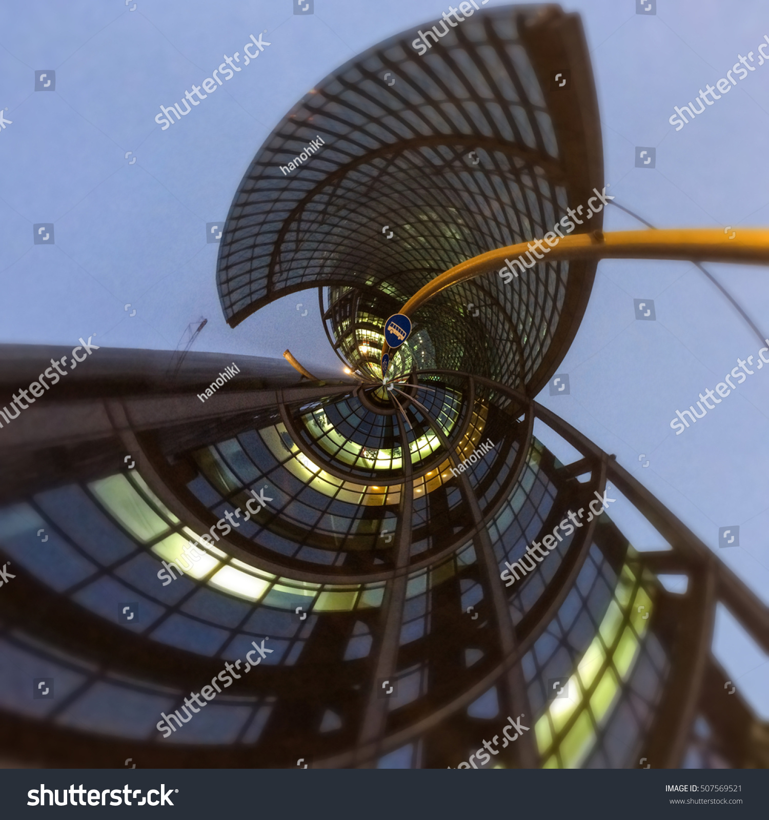 Modern Architecture Concept: Modern Architecture Concept Abstract Fisheye Lens Stock