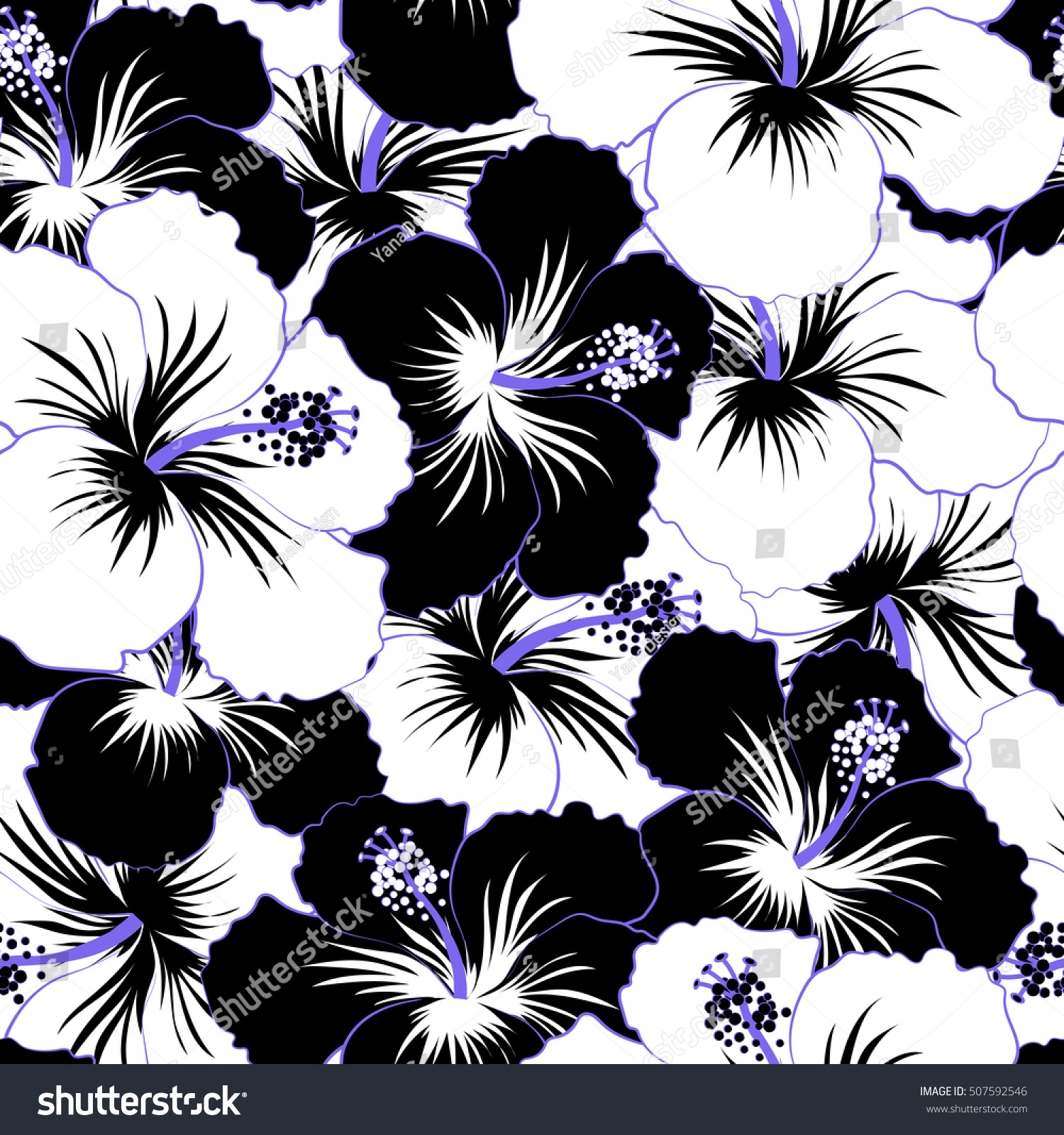 Bright Hawaiian Design With Raster Tropical Plants And Hibiscus