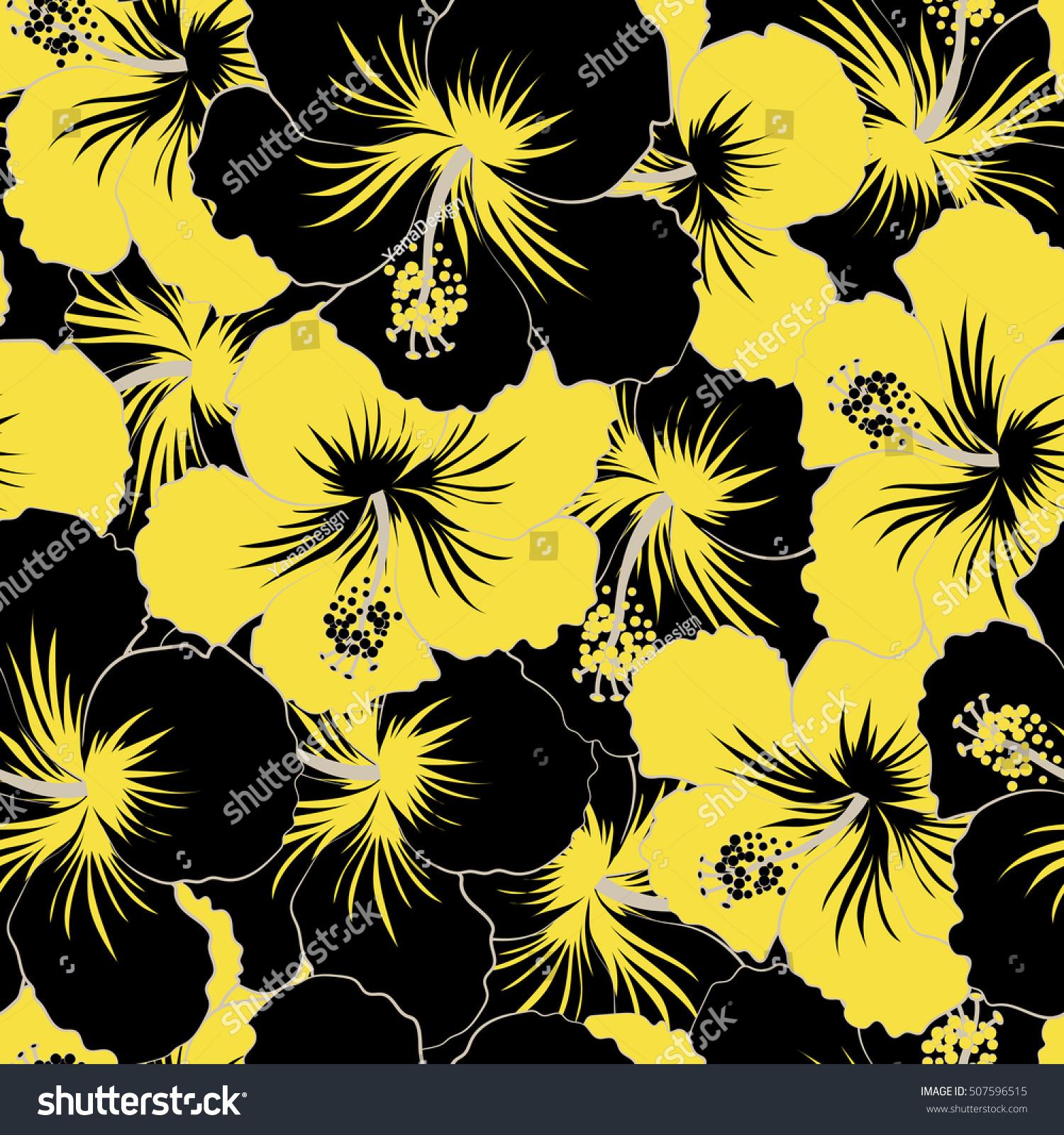 Seamless Pattern Black Yellow Flowers Floral Stock Illustration