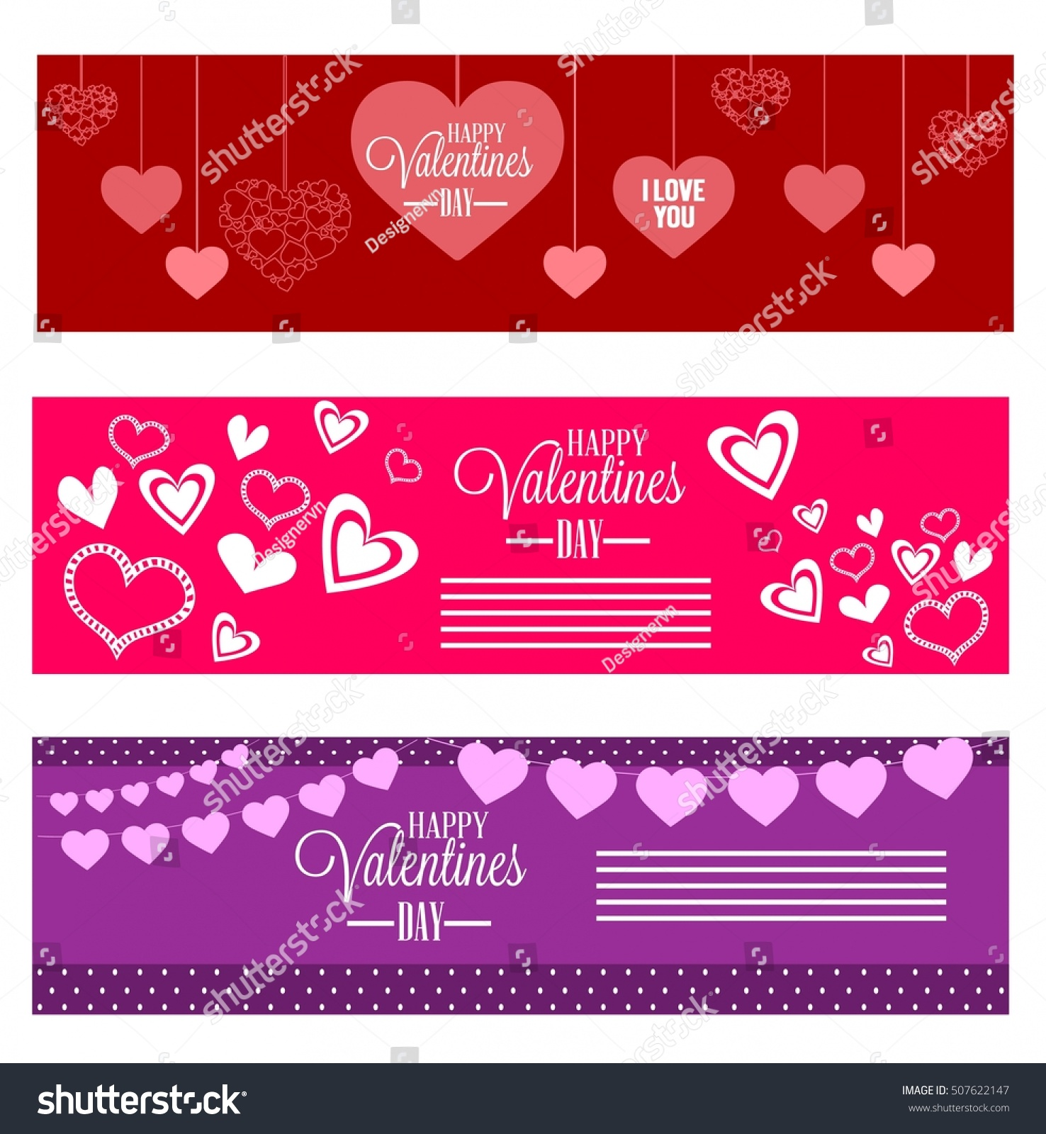 Großartig Red And Violet Valentine Banners Collection Hearts Decoration
