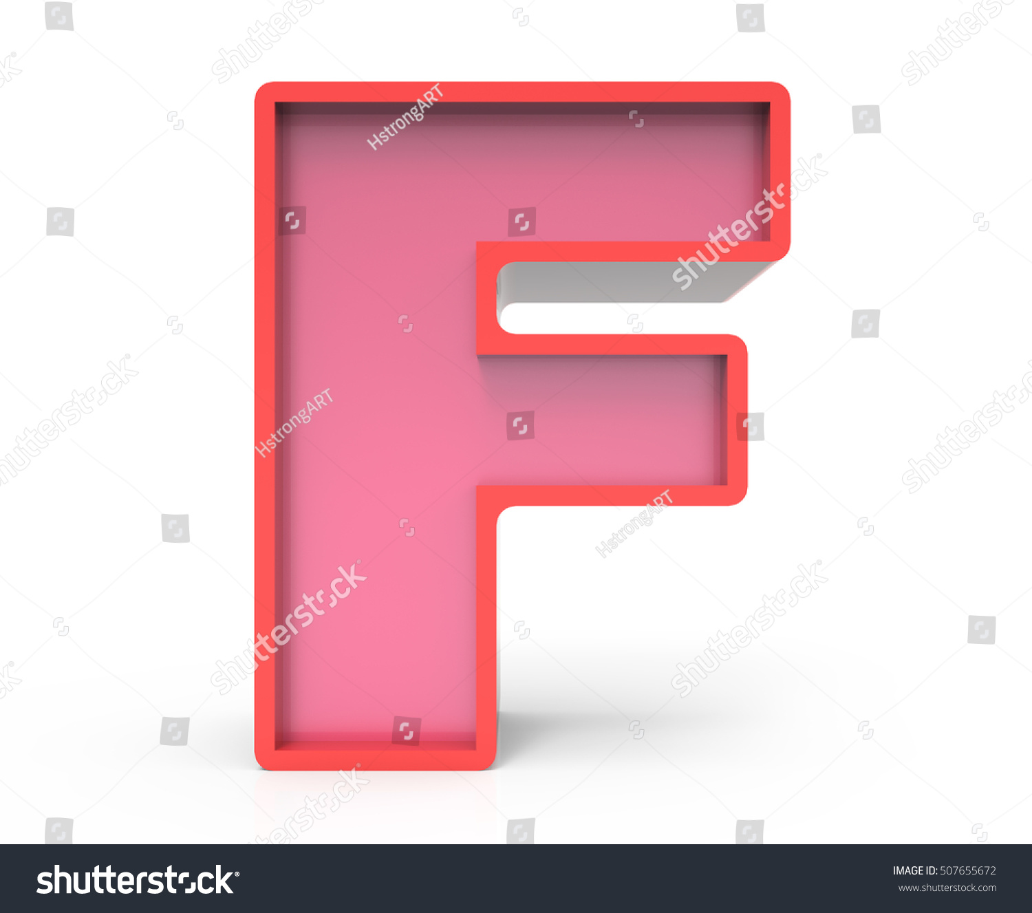 3d rendering red building block letter E isolated white background ...