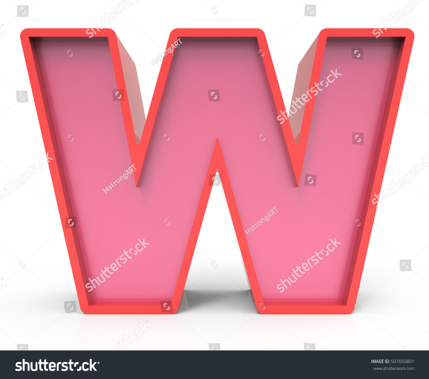 3d rendering red building block letter w isolated white background toylike alphabet for design