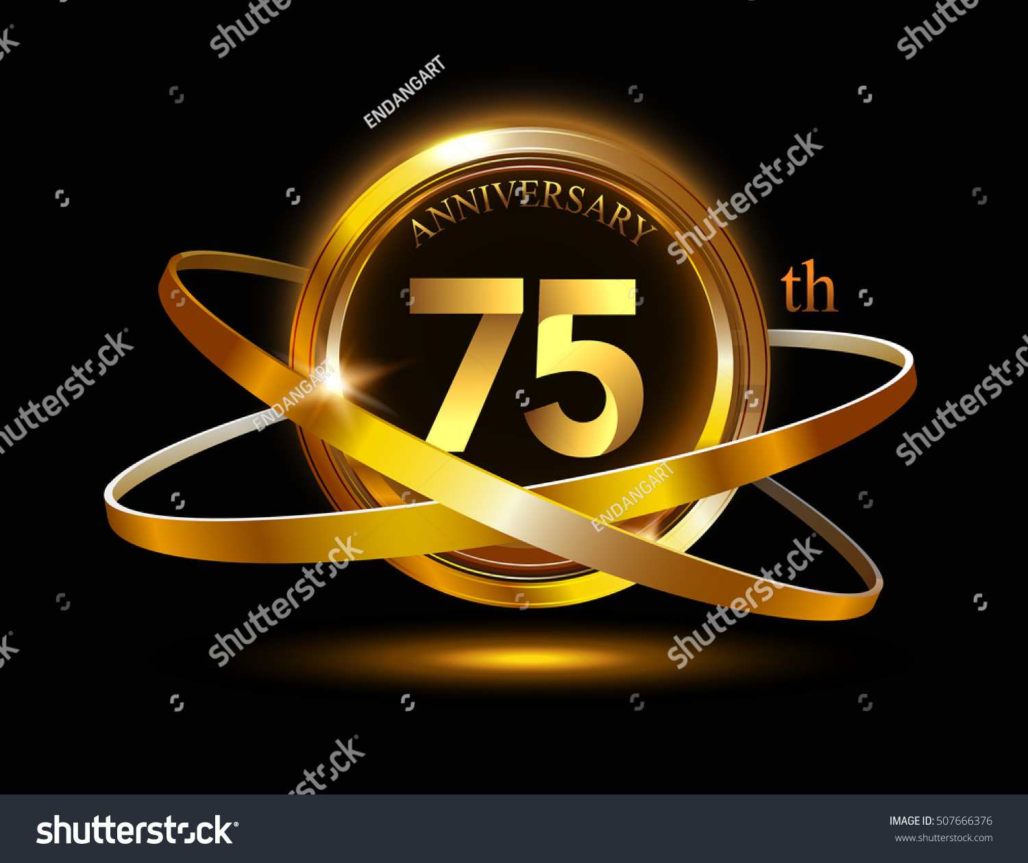 75th Anniversary Gold Ring Graphic Elementson Stock Vector 507666376
