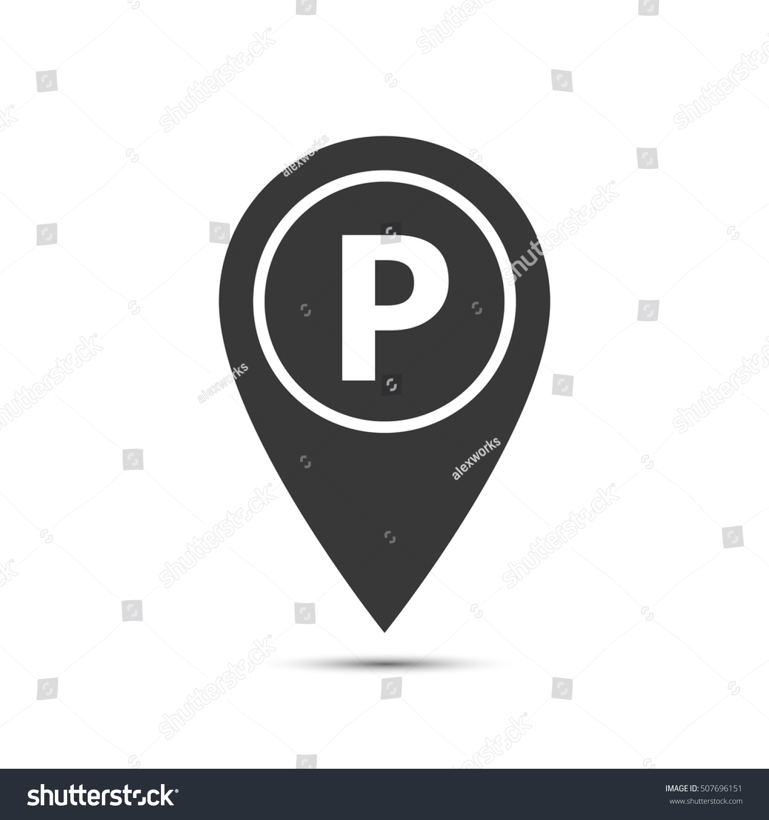 Map Pointer Icon Parking Symbol Vector Stock Vector