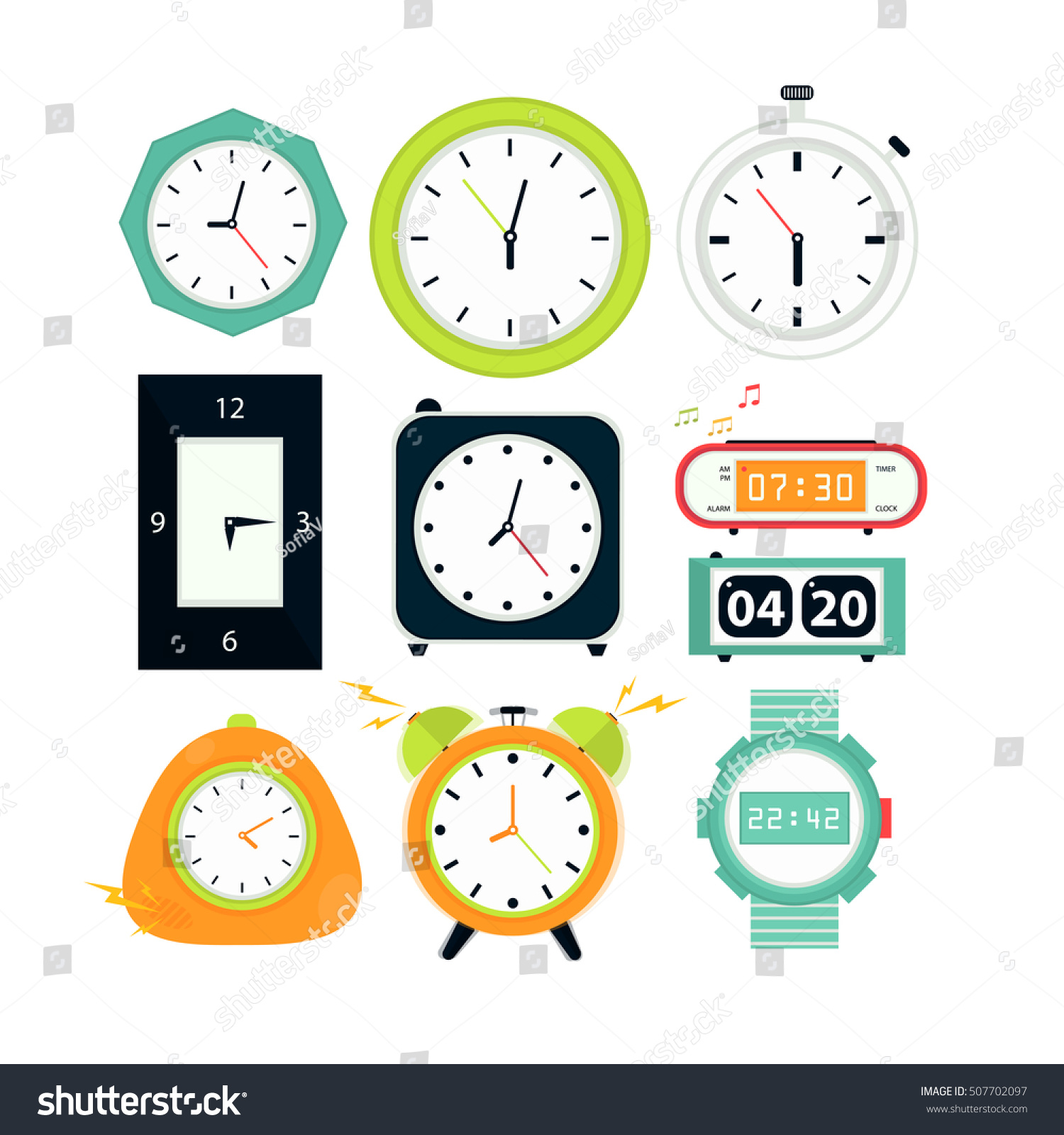 Types alarms clocks digital watch timer stock vector 507702097 types of alarms clocks digital watch and timer stopwatch and hourglass symbol of amipublicfo Choice Image