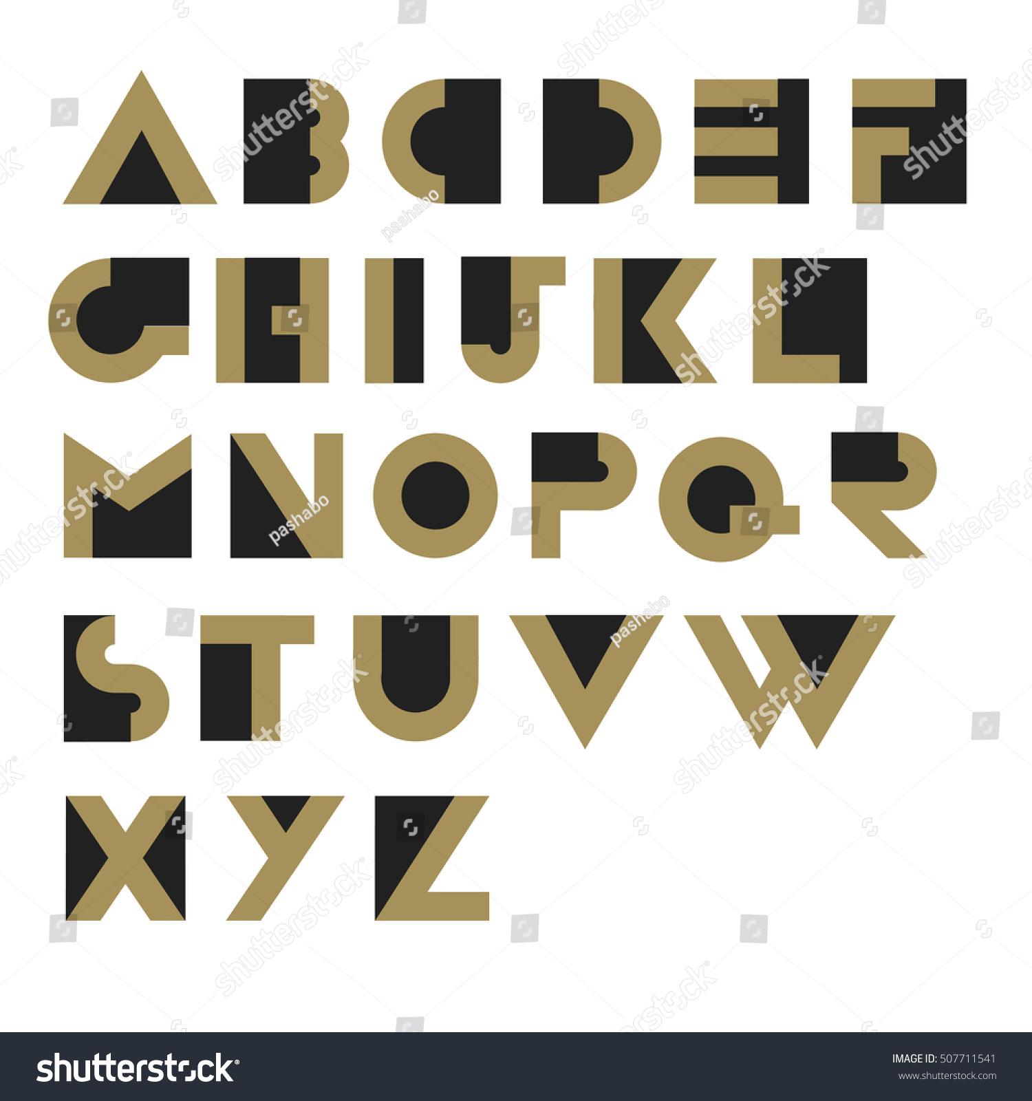 Geometric Retro Alphabet Art Deco Style Stock Vector