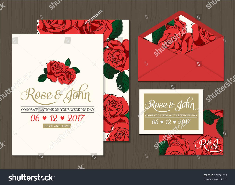 Wedding Invitation Card Suite Flower Templates Stock Vector ...