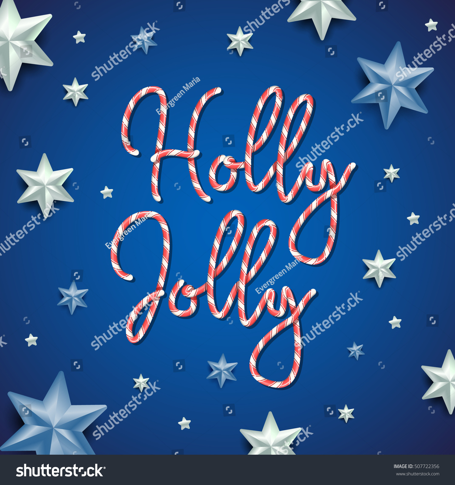 Holly Jolly Merry Christmas Striped Candy Stock Vector Royalty Free
