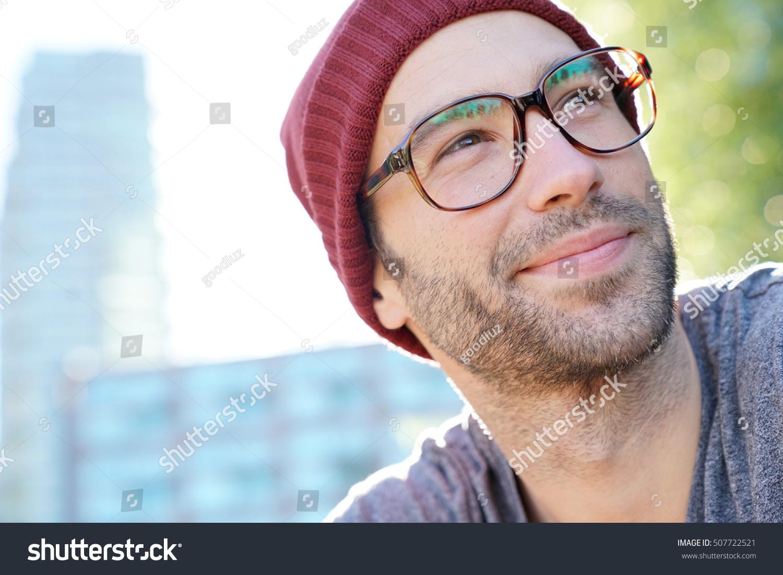 Hipster Guy Eyeglasses Cap Relaxing Park Stock Photo ...
