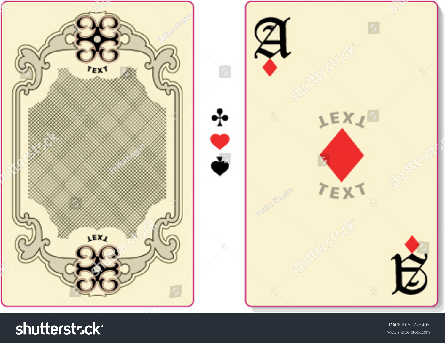 Playing Card Back Template Custom Text Stock Vector 50773408 ...