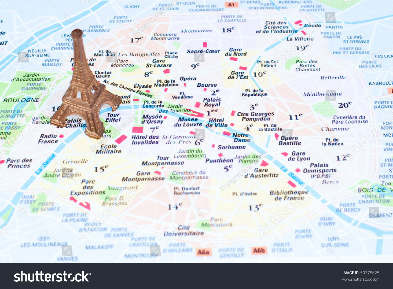 eiffel tower on map paris stock photo 50775625 shutterstock