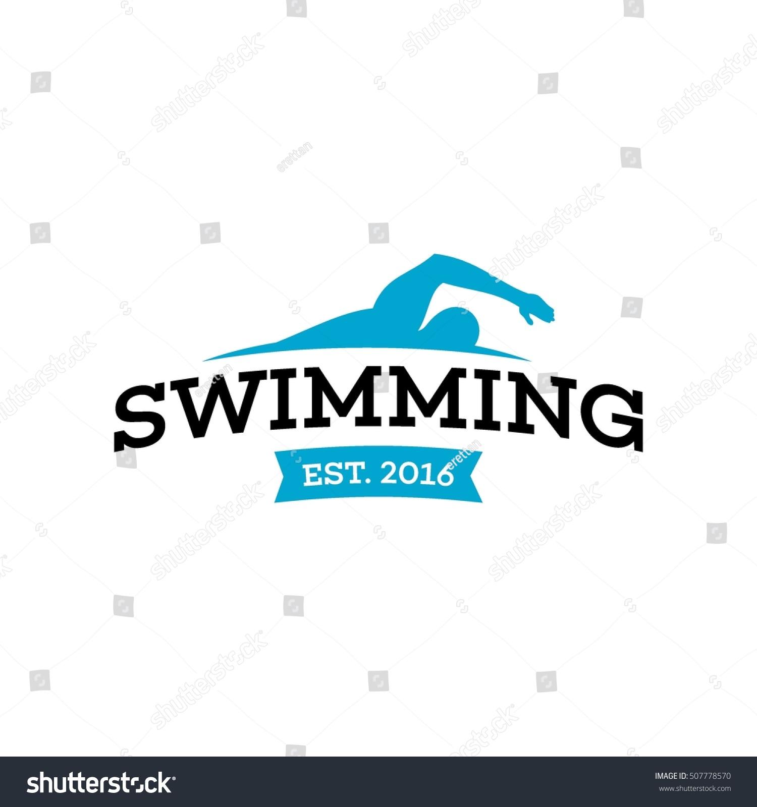 swim swimming club swimmer logo design stock vector