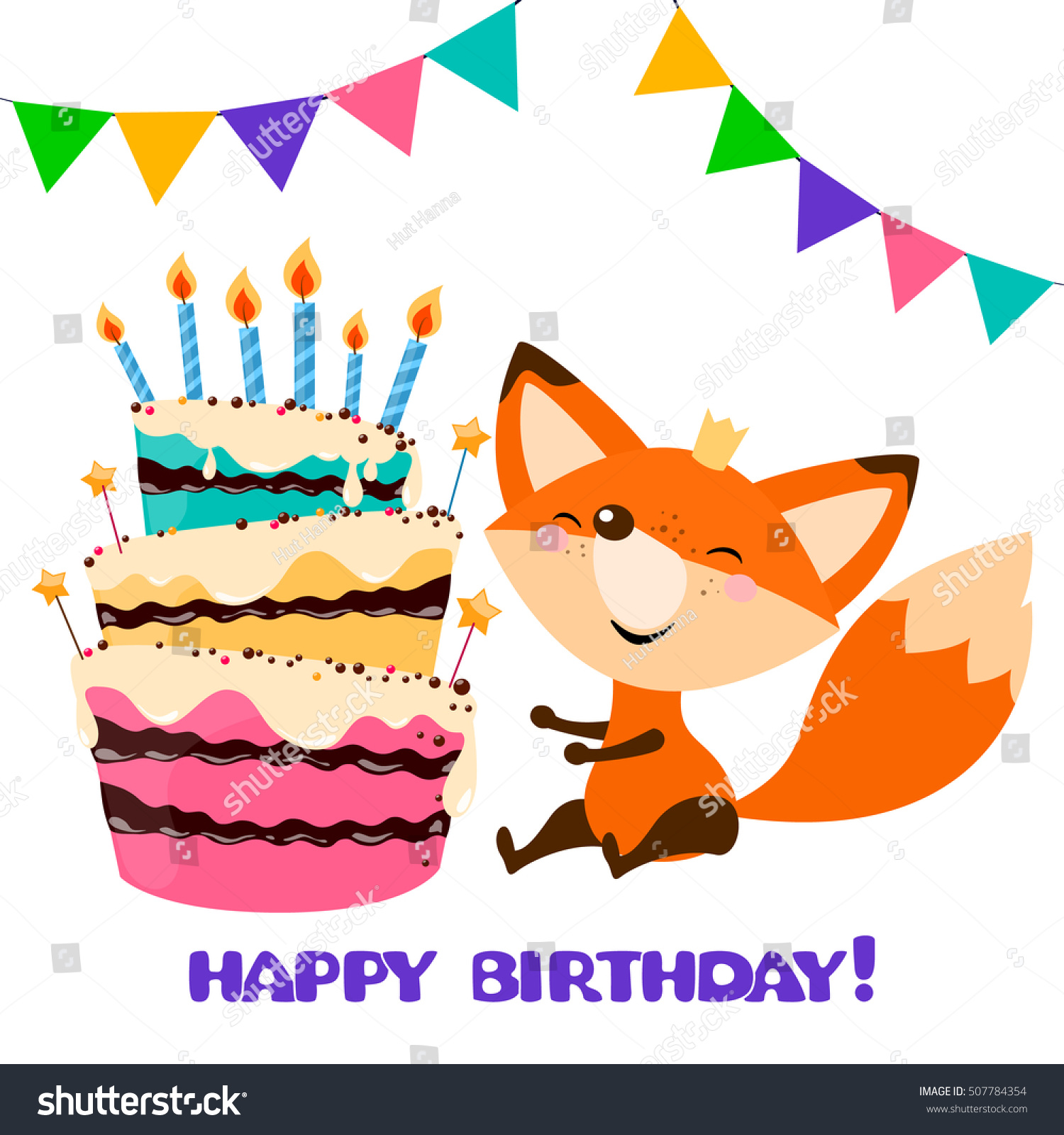 Wondrous Cute Fox Birthday Cake Happy Birthday Stock Vector Royalty Free Personalised Birthday Cards Epsylily Jamesorg