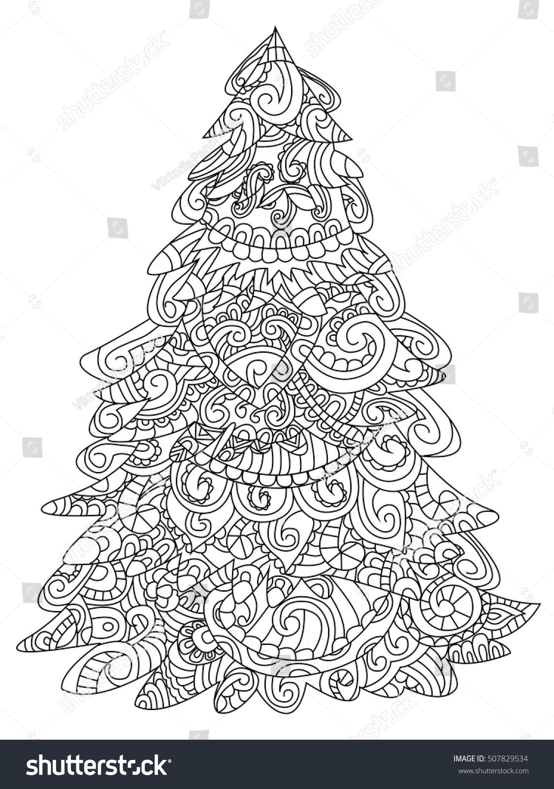 Christmas Tree Coloring Book Raster Illustration Stock Illustration ...