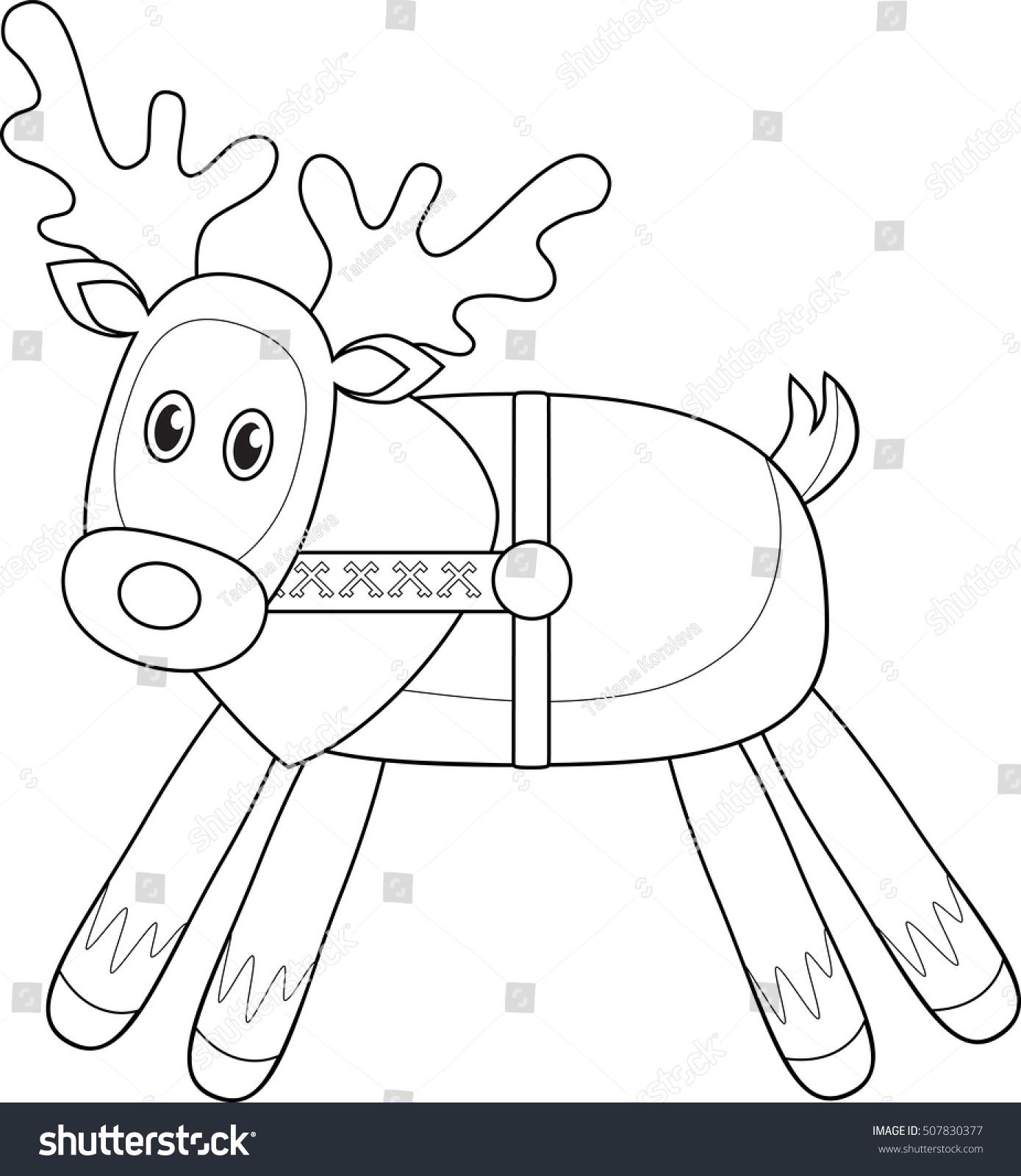 Reindeer Peeking Coloring Page