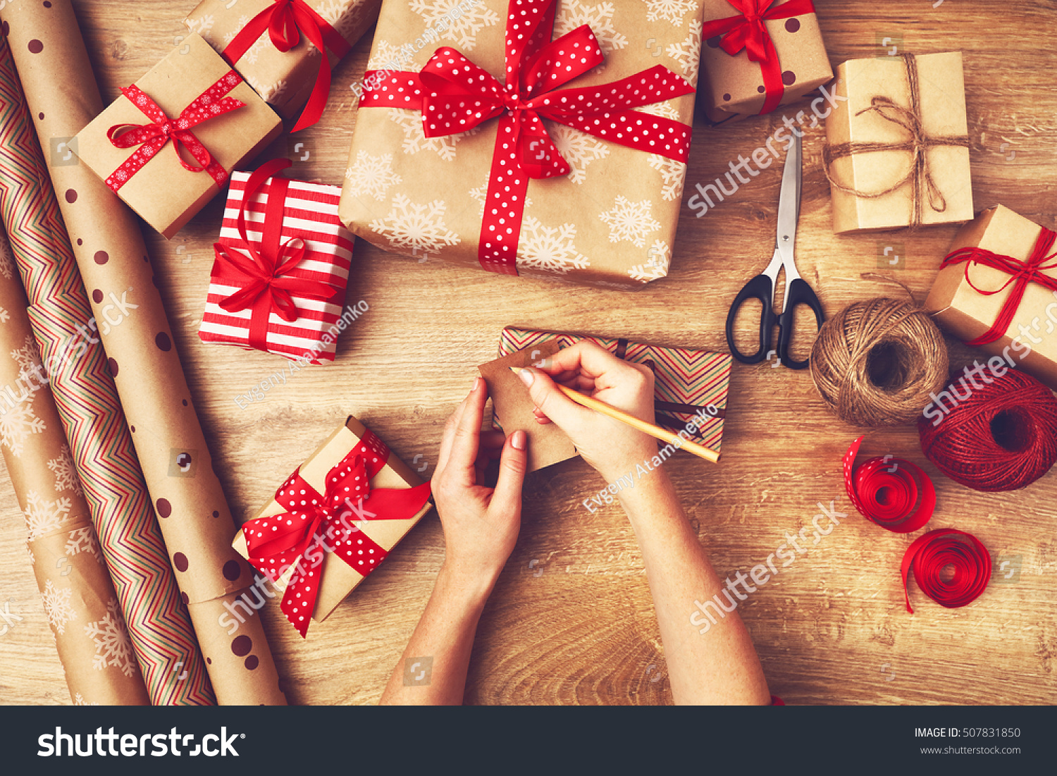 Hand Woman Packs Boxes Christmas Gifts Stock Photo (Edit Now ...