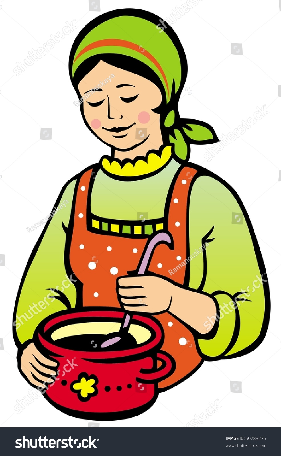 Woman Cooking Stock Vector Illustration 50783275 ...