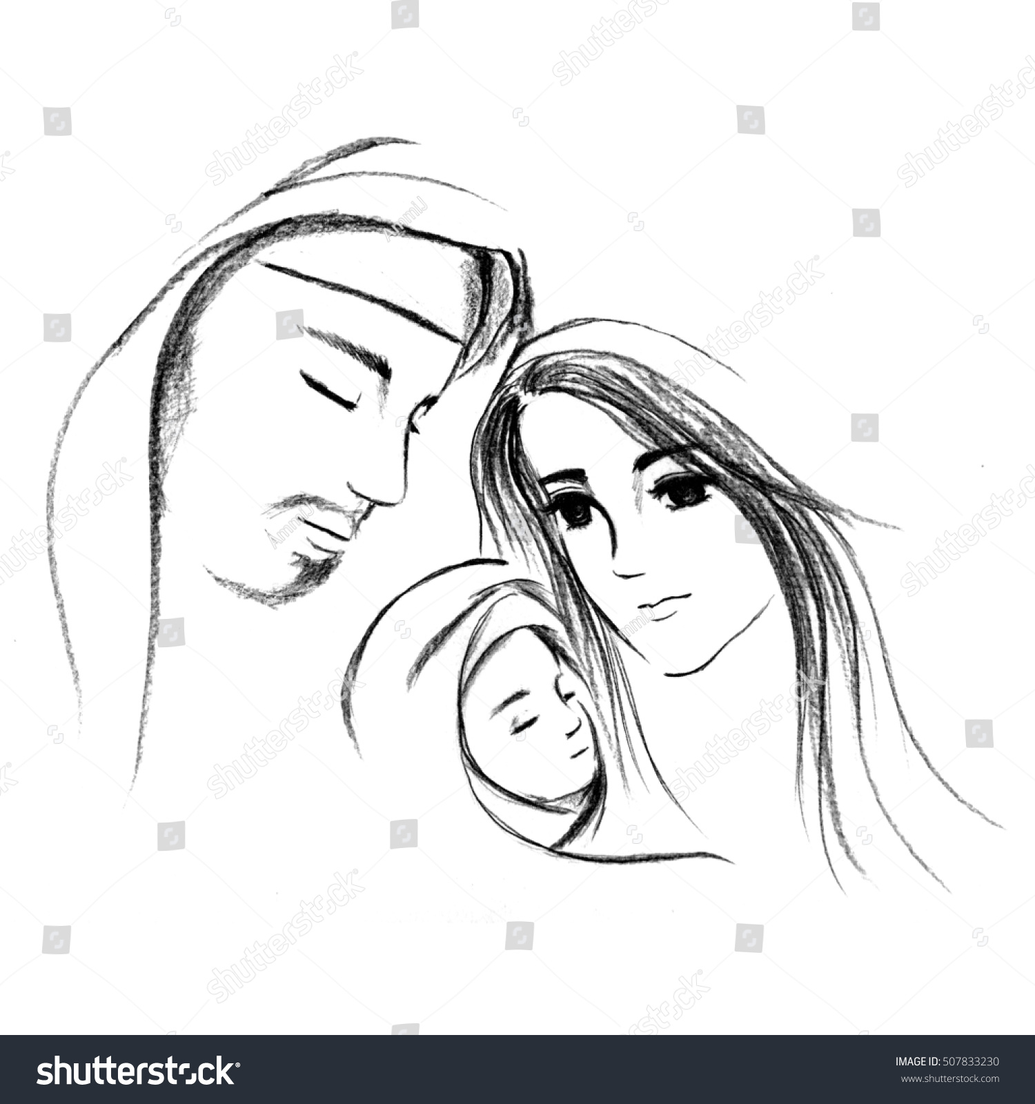 baby jesus mary joseph hand drawn stock illustration 507833230