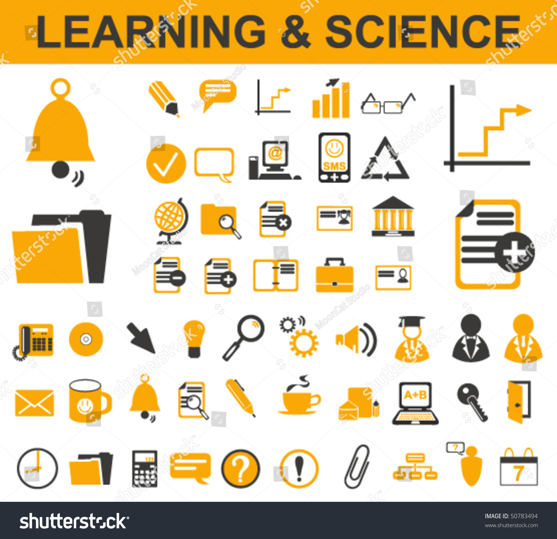 50 learning symbols stock vector illustration 50783494