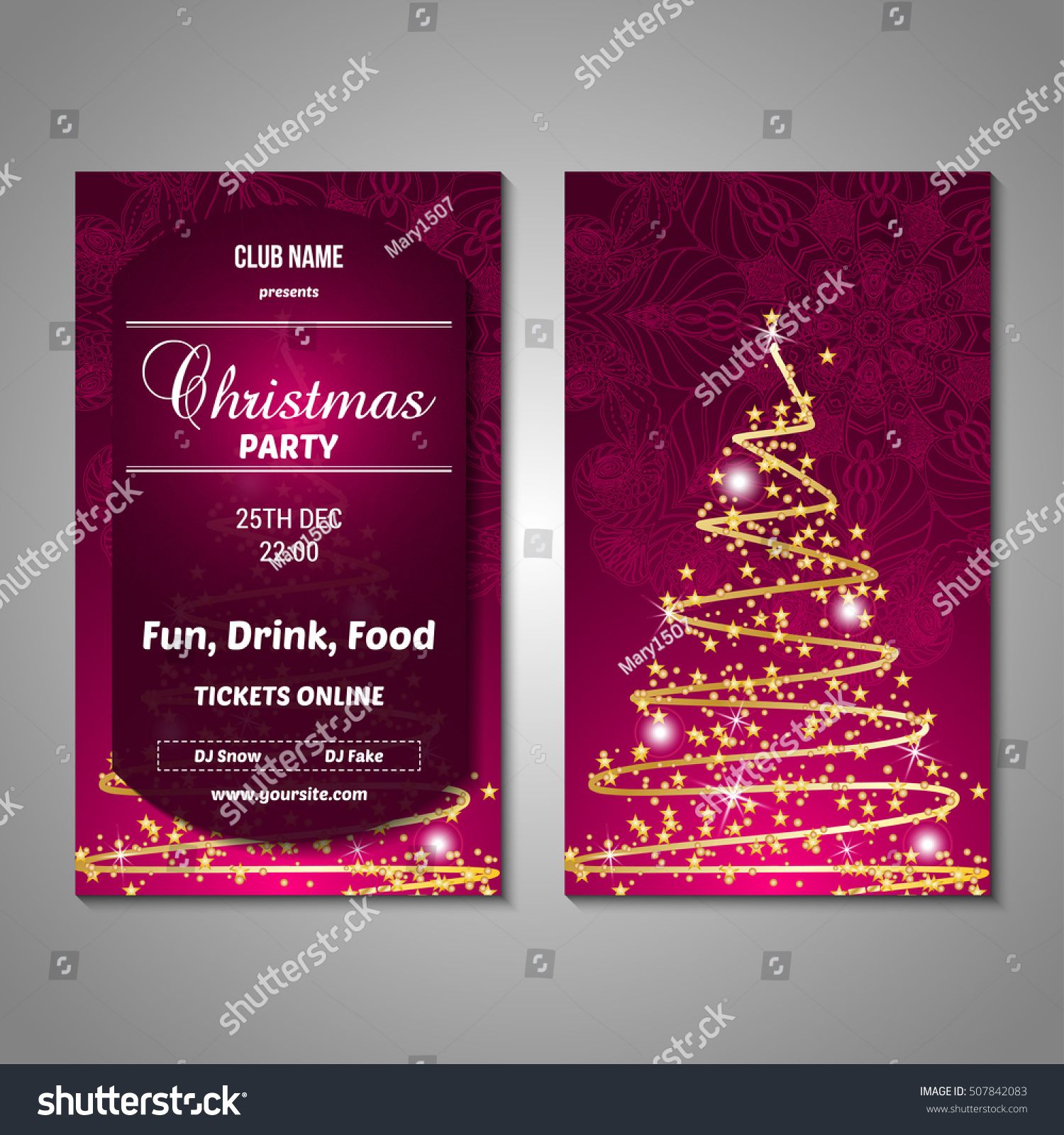 set stylized christmas tree invitation flyer stock vector royalty