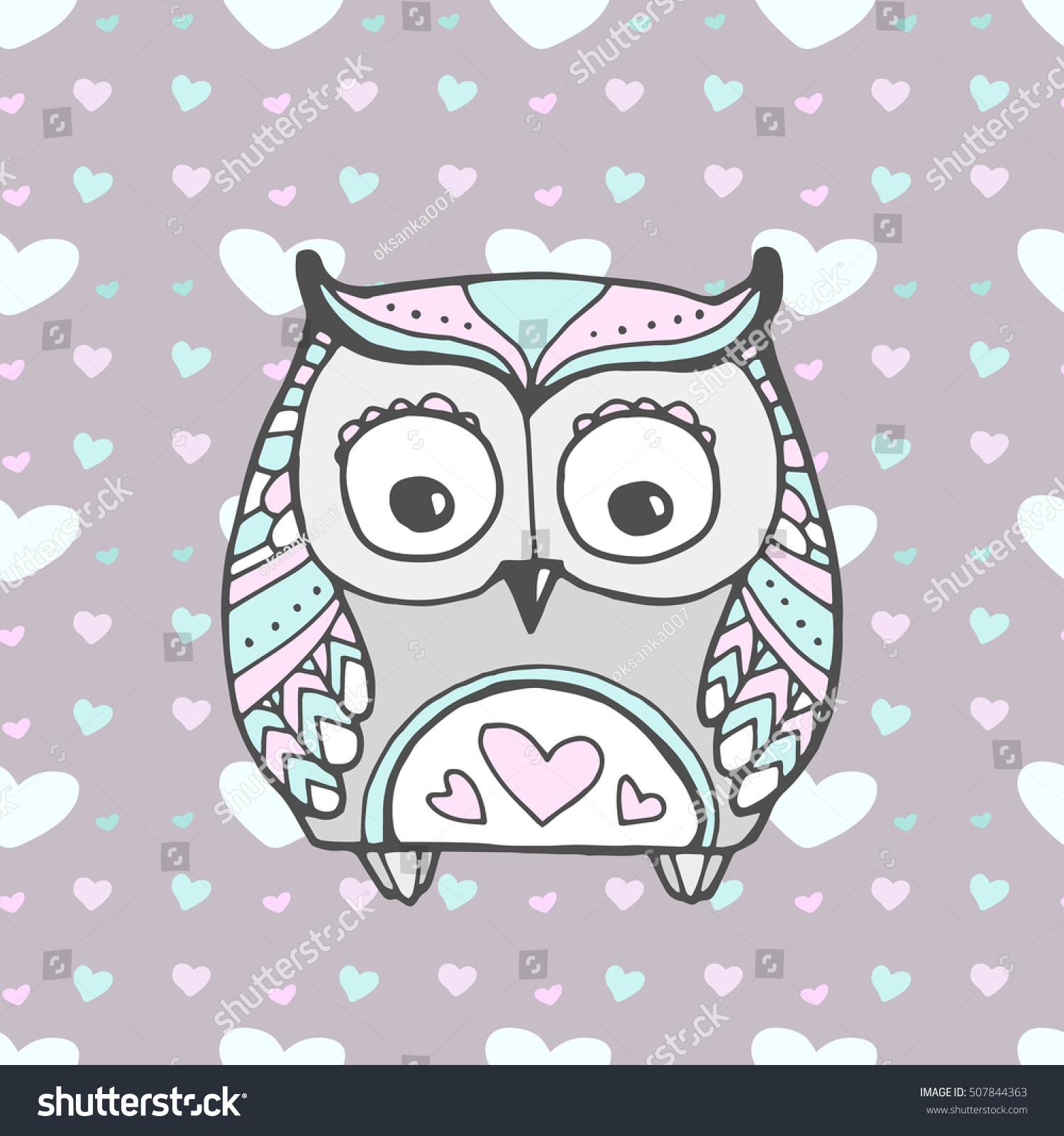 Cute owl bird seamless heart pattern stock vector 507844363 cute owl bird seamless heart pattern vector love bohemia concept for wedding invitation stopboris Choice Image