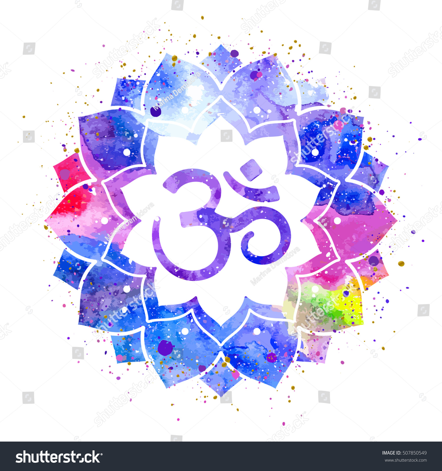 Om Sign Lotus Flower Rainbow Watercolor Stock Vector Royalty Free