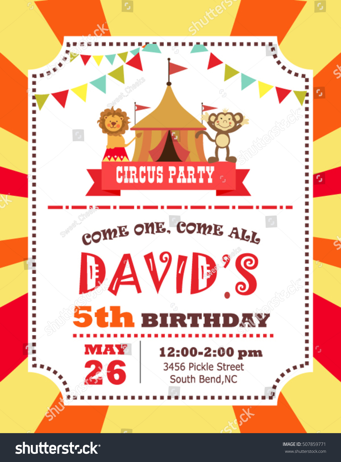 Circus Birthday Invitation Card Stock Vector Shutterstock - Birthday invitation cards circus