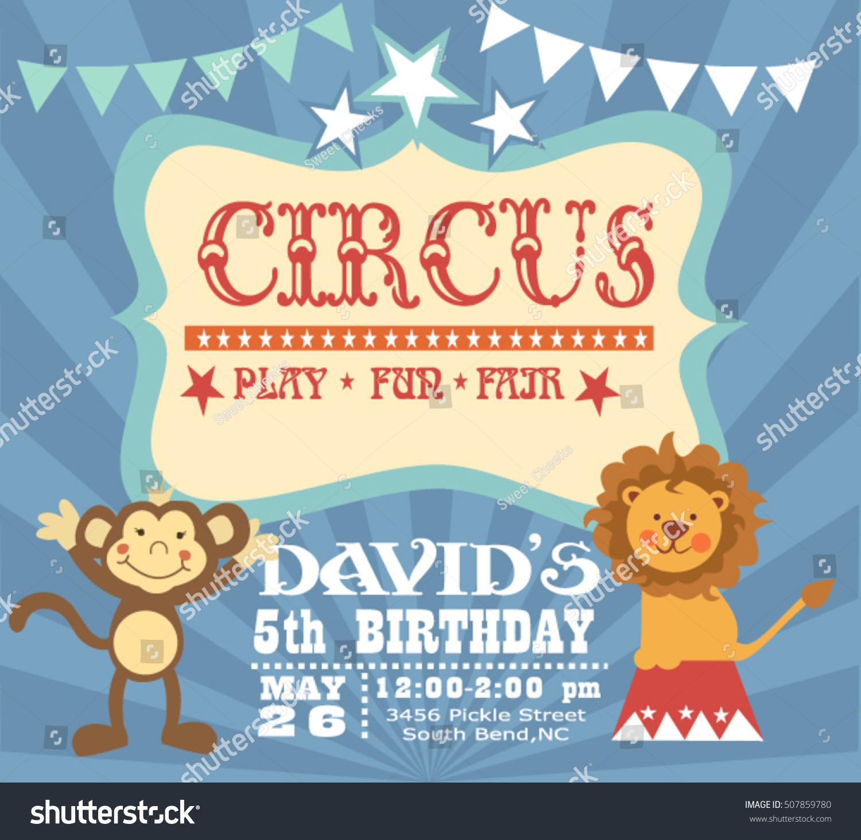 Circus Birthday Invitation Card Stock Vector 507859780 - Shutterstock