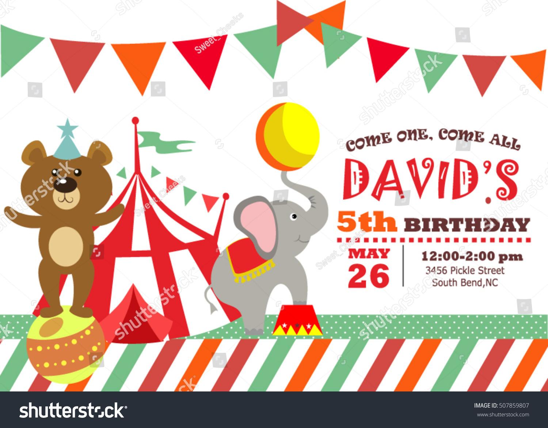 Circus Birthday Invitation Card Stock Vector 507859807 - Shutterstock