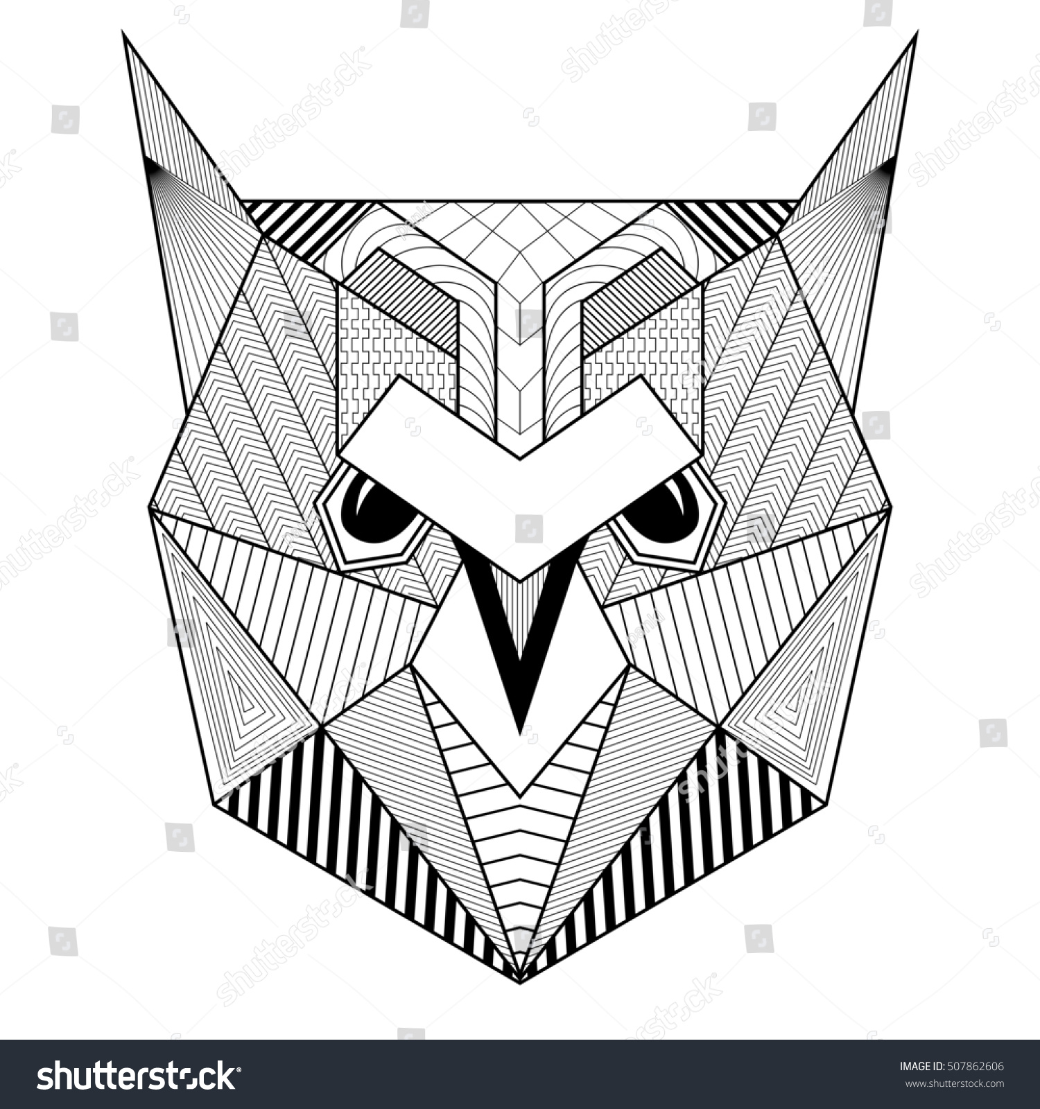 Coloring Page A4 Vector Colorful Zentangle Stylized