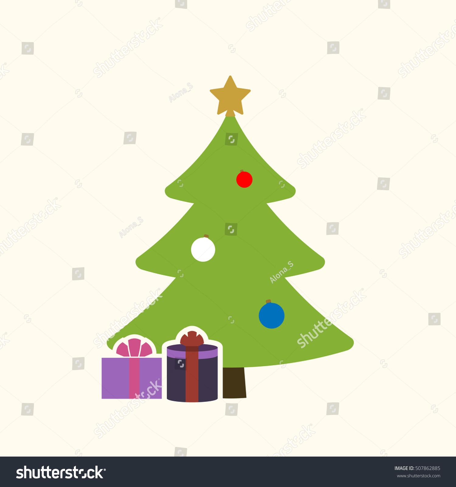 Christmas tree balls star gift cartoon stock vector