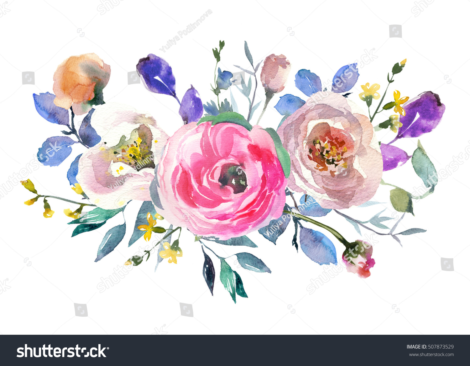Pink Blue Purple Watercolor Flowers Peonies Stock Illustration