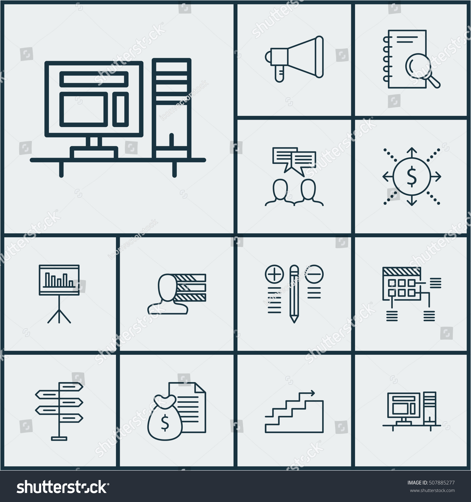 Set Project Management Icons On Discussion Stock Vector