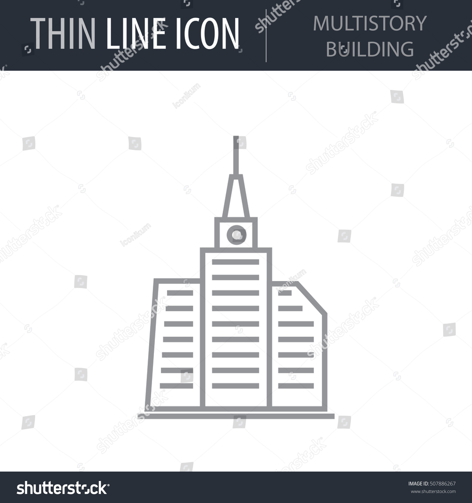 Symbol multistory building thin line icon stock vector 507886267 symbol of multistory building thin line icon of construction stroke pictogram graphic for web design buycottarizona Image collections