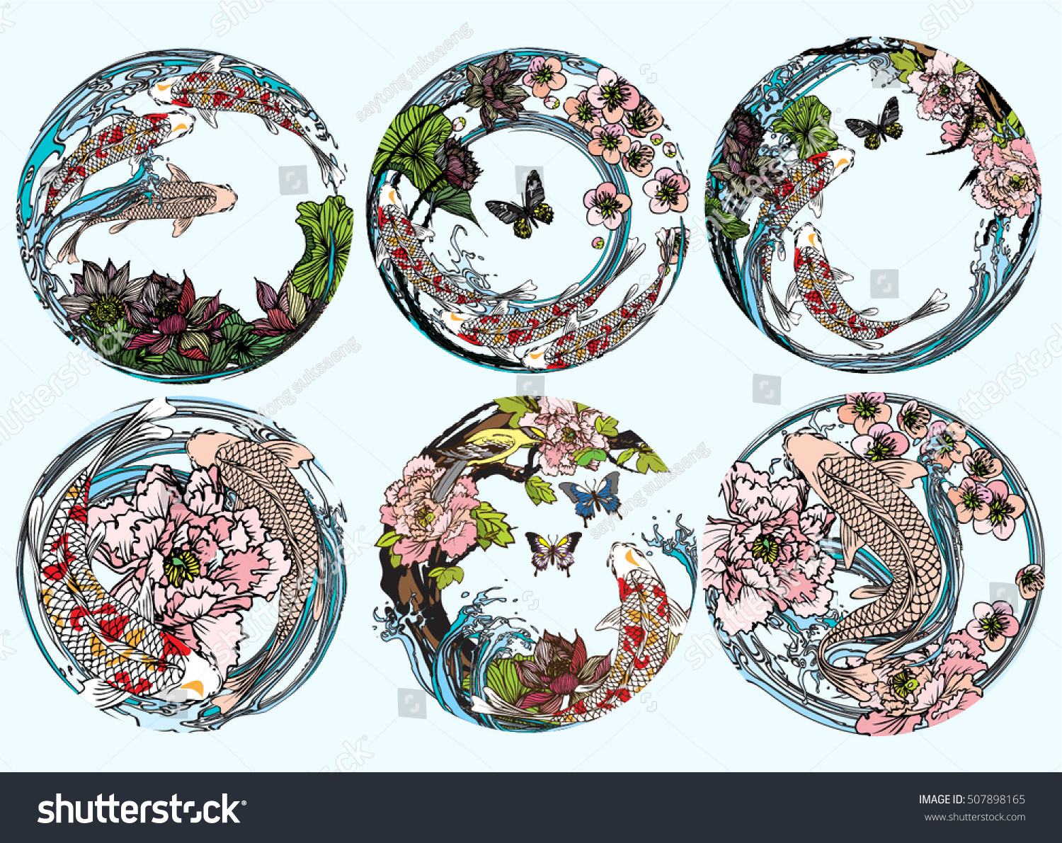 Vector set koi birds butterflies with lotus flower peonies flower cherry blossoms  sc 1 st  Shutterstock : lotus flower dinnerware - pezcame.com