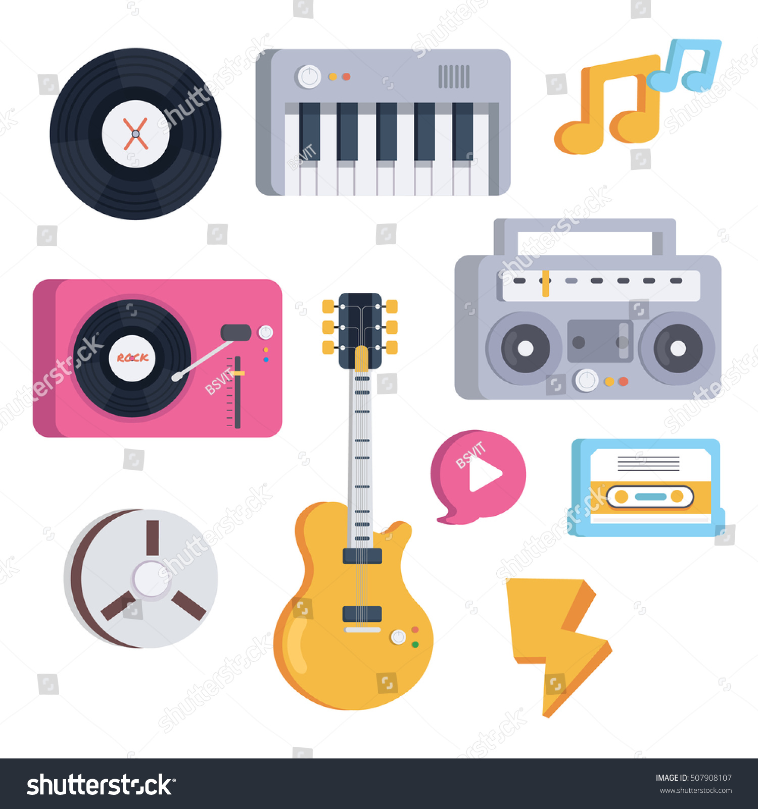 Musical Instruments Symbols Objects Flat Style Stock Vector Hd
