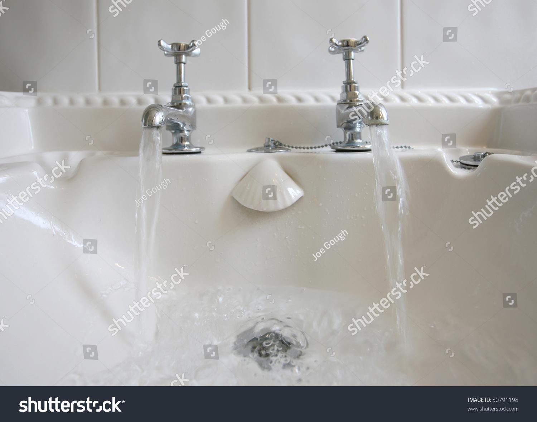 Victorianstyle Bathroom Taps Running Water Stock Photo 50791198 ...