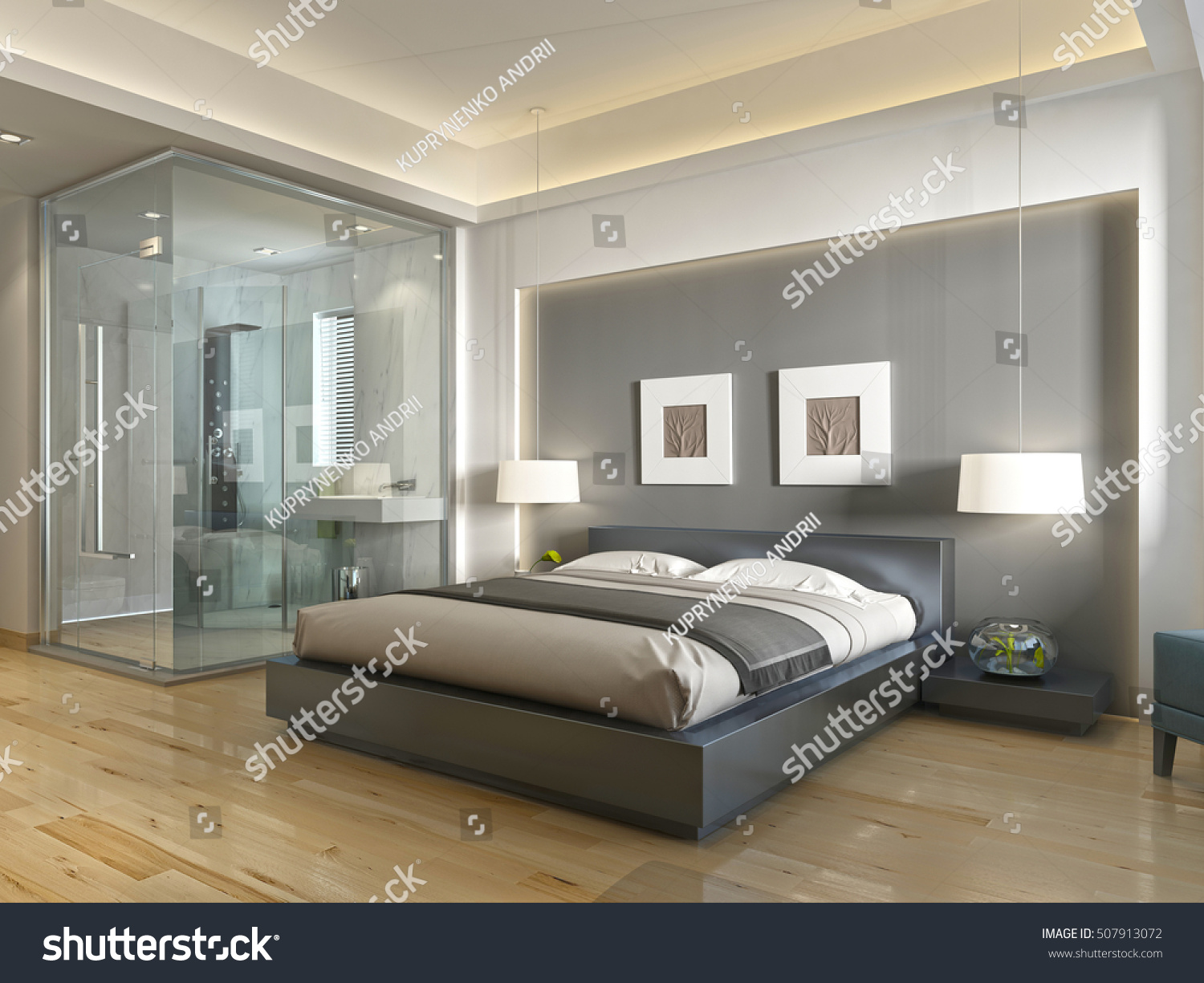 Modern Hotel Room With Large Bed Contemporary Style Elements Of Art Deco Decorative