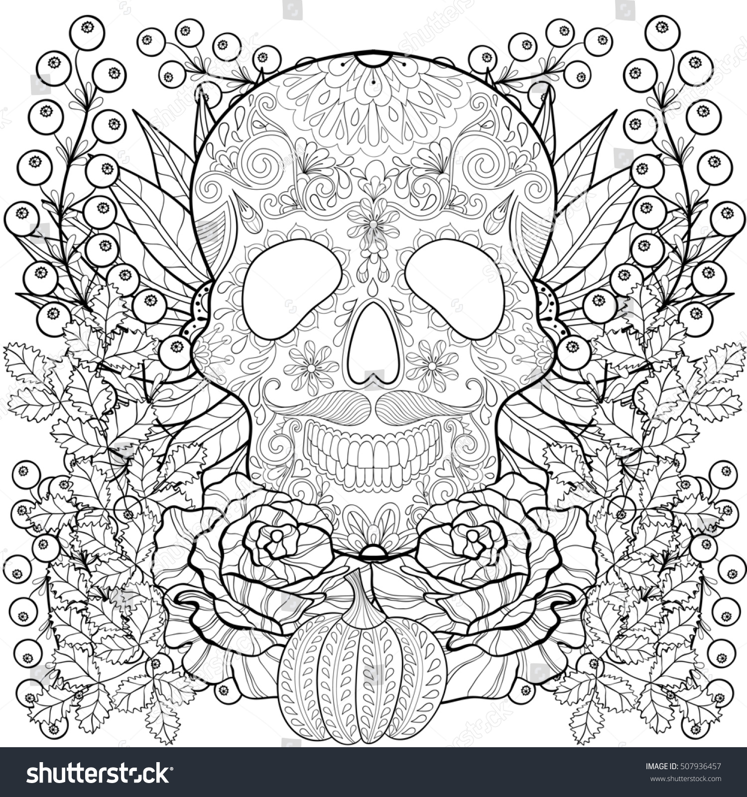 zentangle stylized skull pumpkin rose sunflower stock illustration