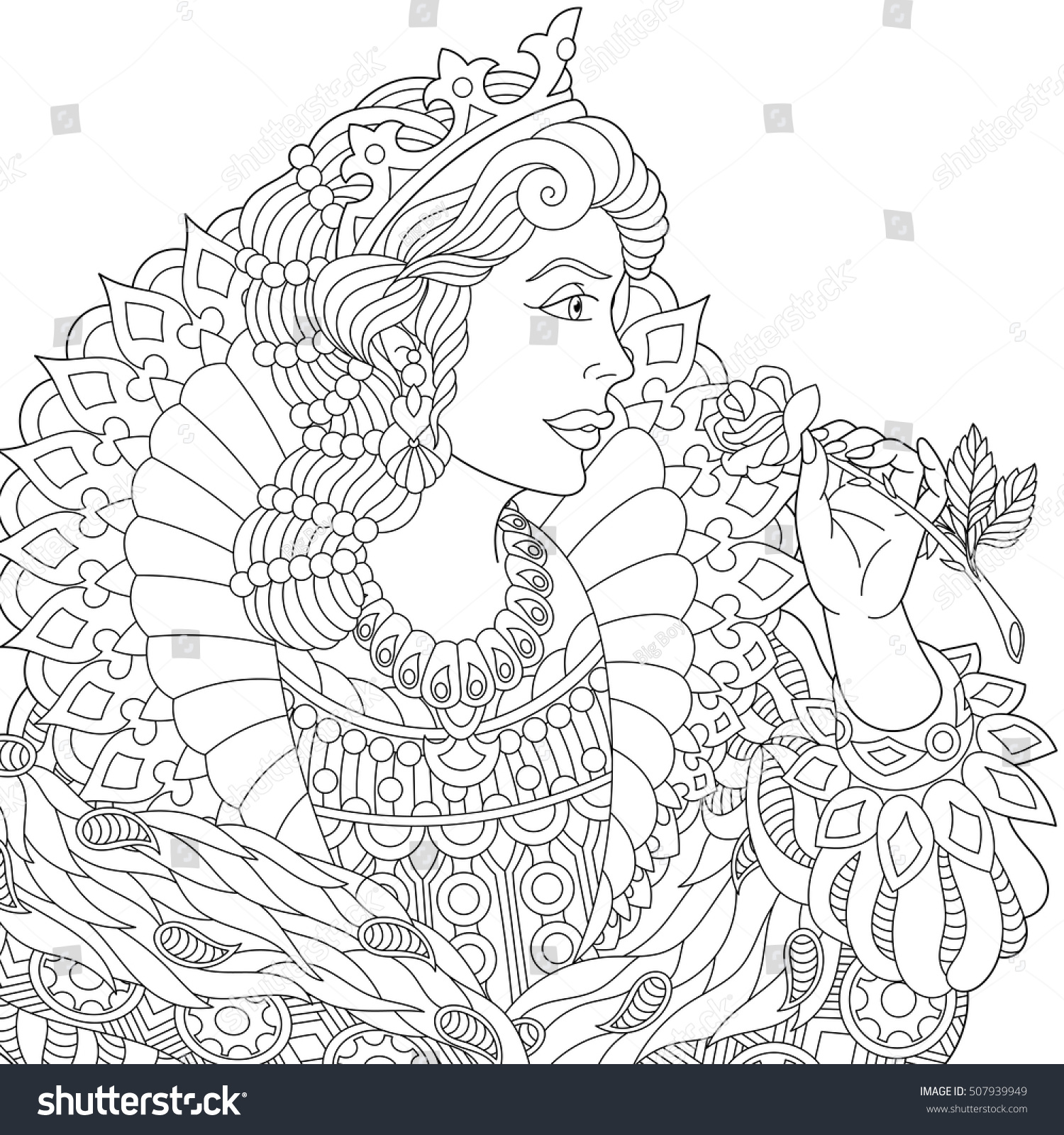 Coloring book princess crowns - Stylized Young Beautiful Queen Princess In A Crown Is Holding Rose Flower Freehand