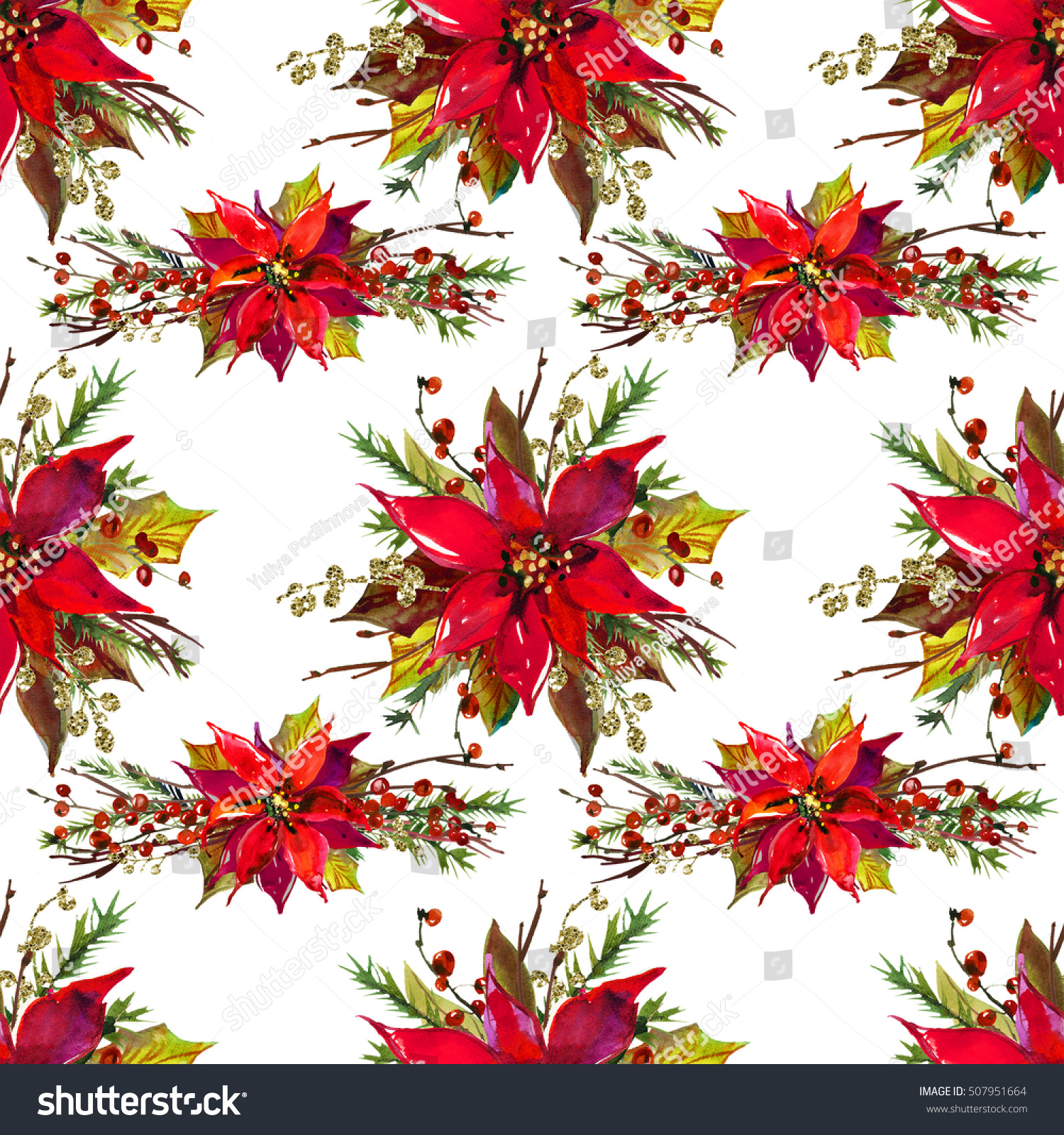 Christmas watercolor floral bouquet pretty flowers stock christmas watercolor floral bouquet pretty flowers seamless pattern paper template on white background izmirmasajfo