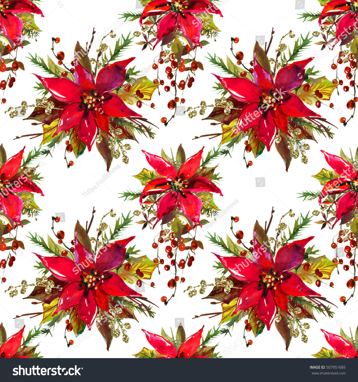 Christmas watercolor floral bouquet pretty flower stock illustration christmas watercolor floral bouquet pretty flower seamless pattern paper background template isolated on white izmirmasajfo
