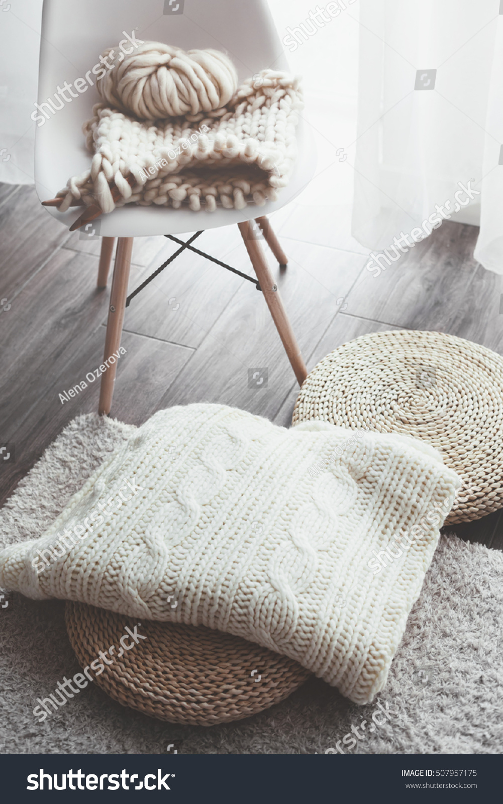 Knitted Blanket On Wicker Ottoman Modern Stock Photo ...